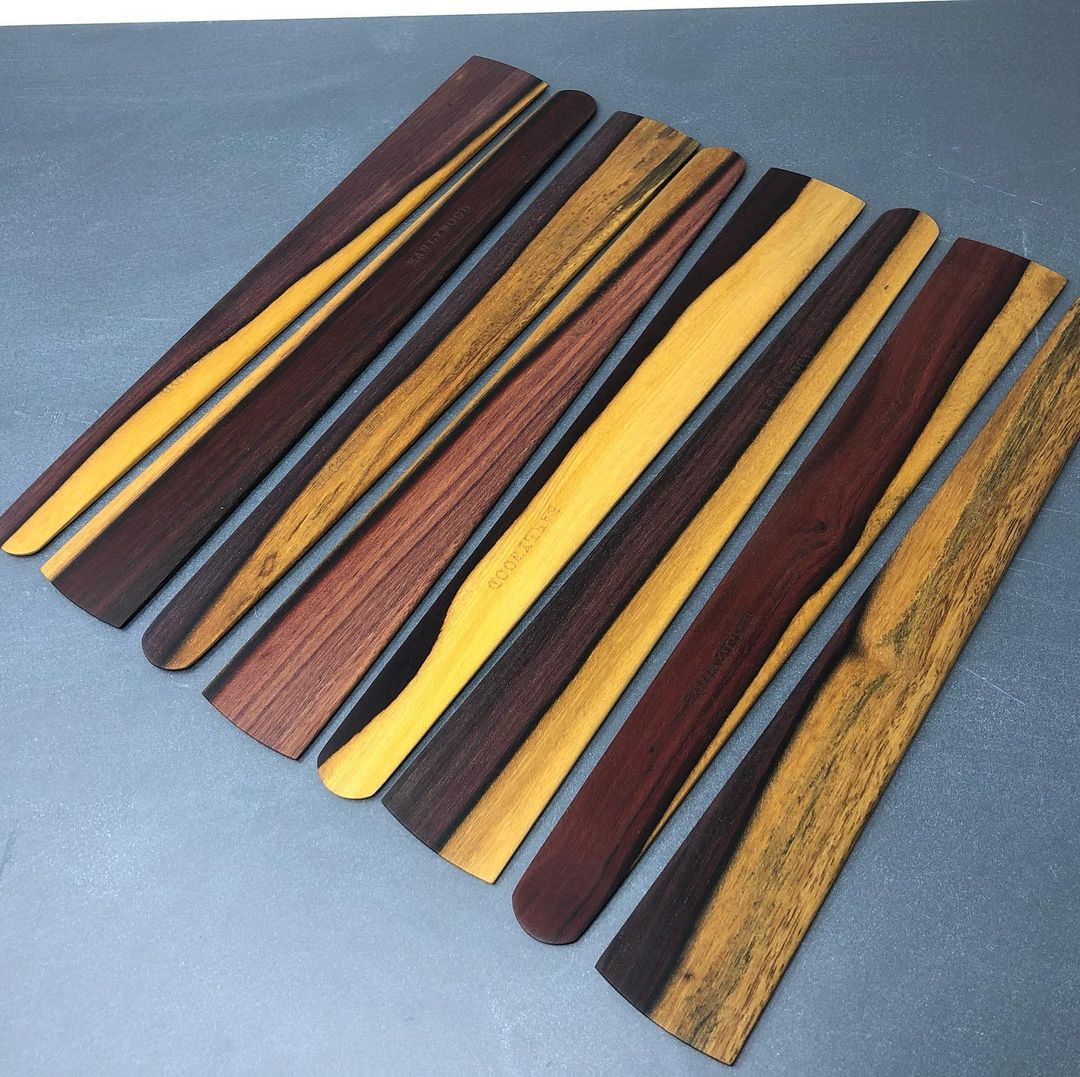 Lovely ebony wooden spatulas with one-of-a-kind grain