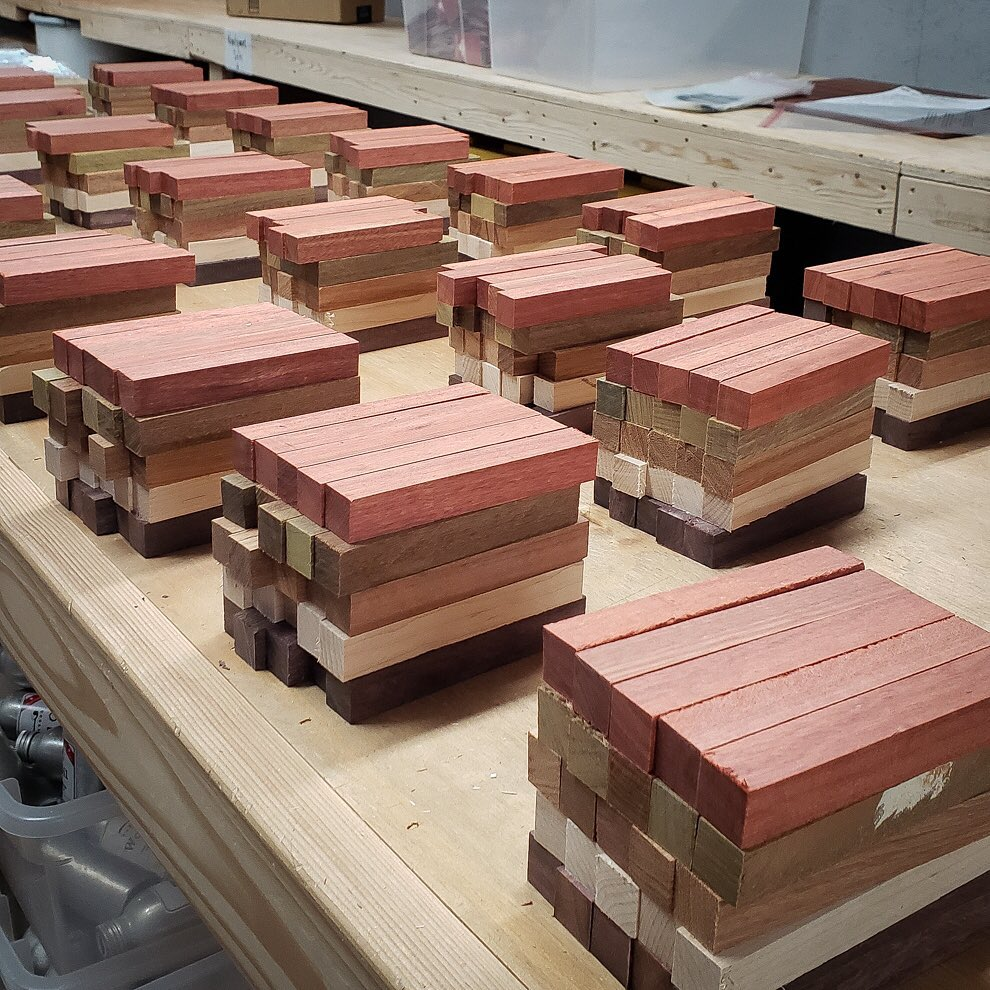Our wood scraps to be turned into pen blanks