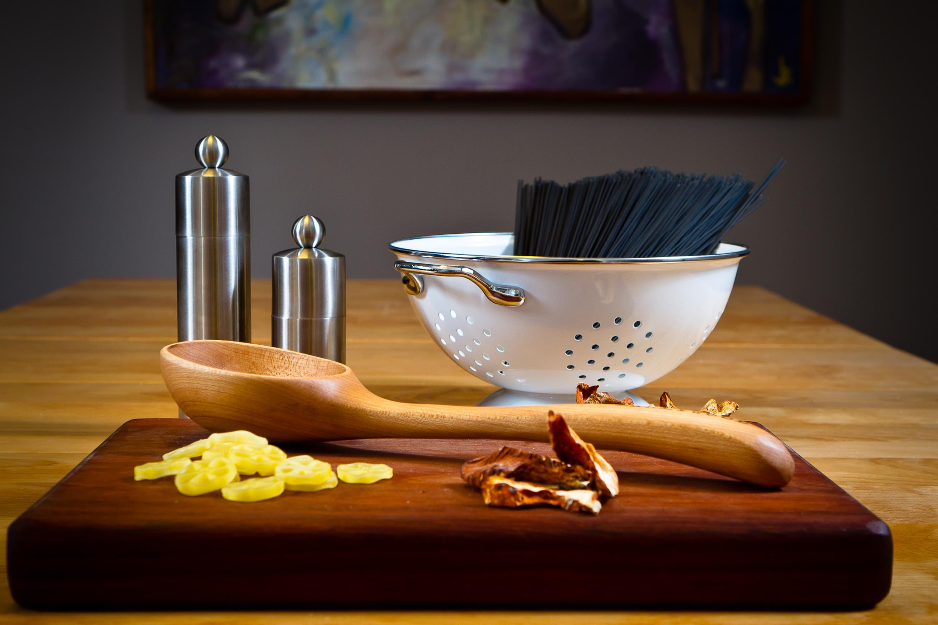 Wooden ladle and cutting board