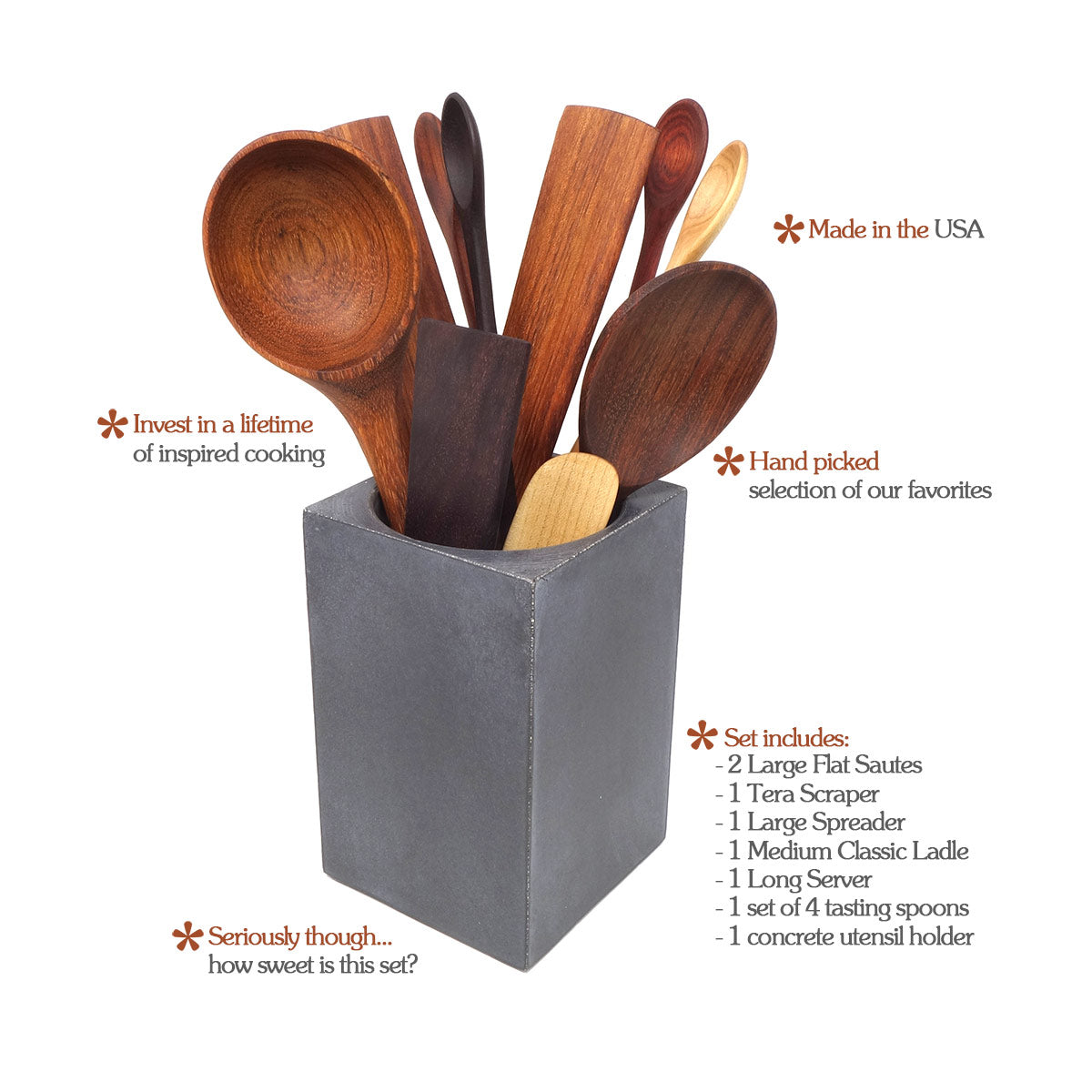 Kitchen Utensil Set With Holder Earlywood
