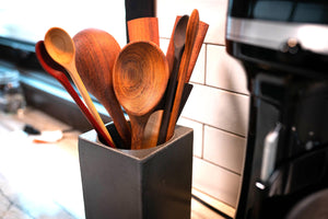 10 handmade wooden kitchen tools in concrete utensil holder set - Earlywood