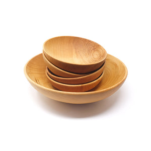 11 inch wooden bowl set - with 6 inch bowls