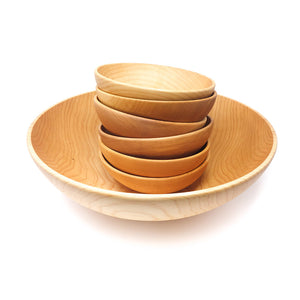 14 inch wooden bowl set - with 6 inch bowls