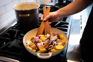 wooden spatulas for cooking in Staub cookware - Earlywood