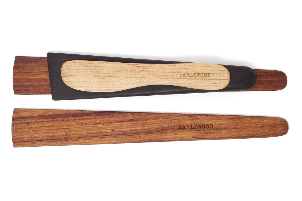 Earlywood essentials 4-piece wood spatula set - jatoba ebony maple