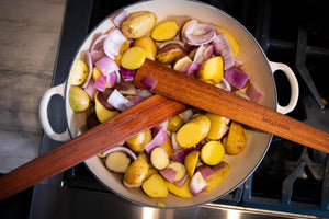 two of the best wood spatulas in a staub pan - Earlywood