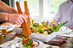 using Earlywood wooden spatulas as wood salad tongs