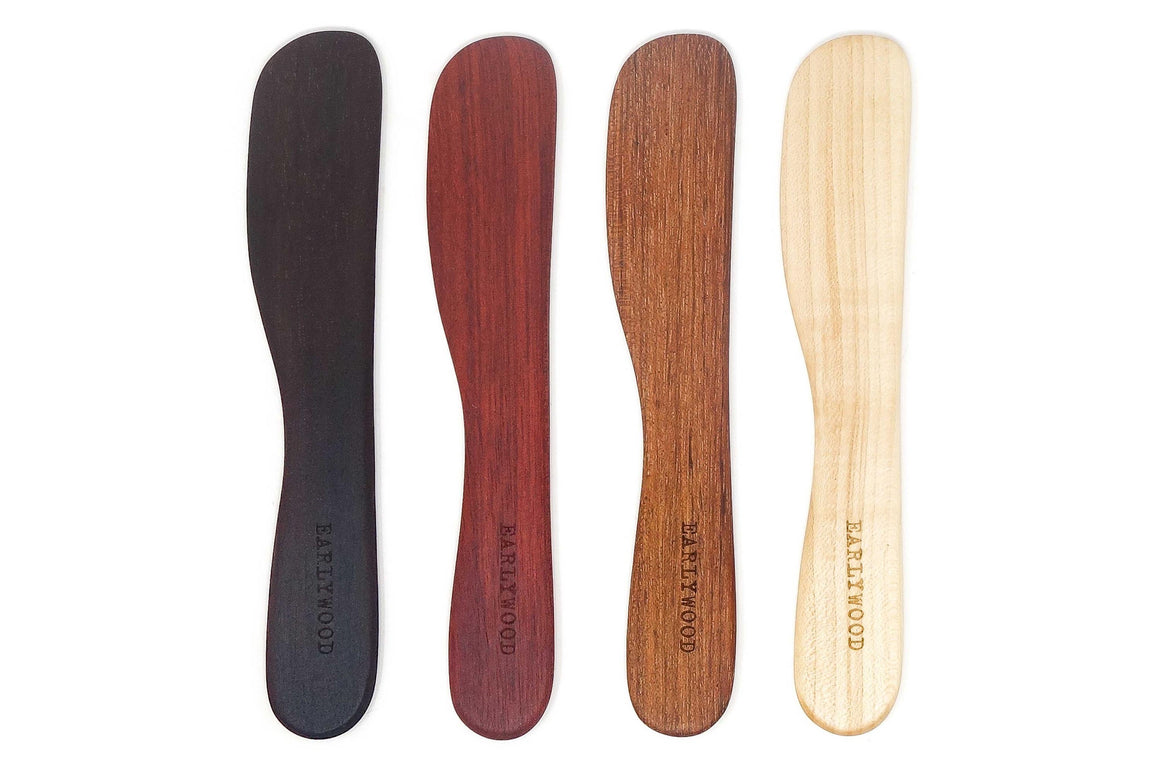 multicolored wood cheese knives set of 4 by Earlywood