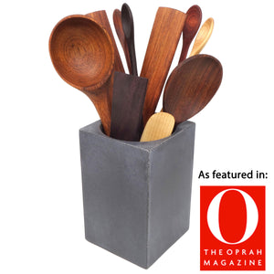 big wooden cooking utensils set and holder - earlywood