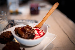 wood spoon for eating in ice cream and brownie bowl - Earlywood