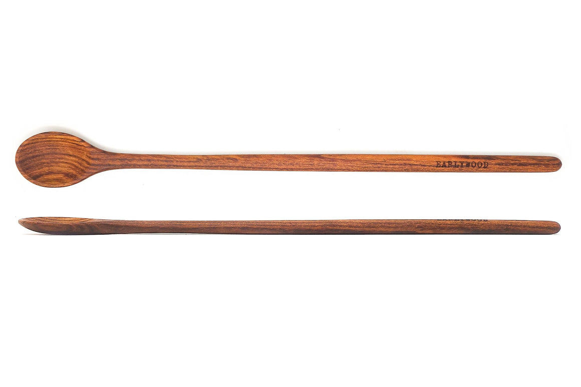 long handmade wooden spoon - brown jatoba - earlywood