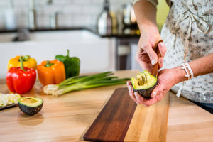 cheese knife made in the USA scooping avocado from skin - Earlywood