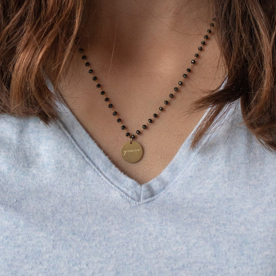 Serenity Stone Black Necklace