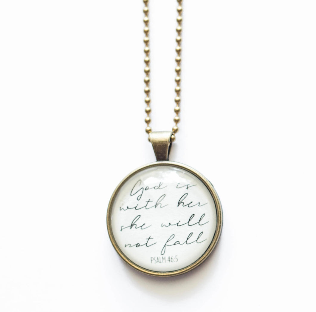 God Is With Her Necklace by The Vintage Sparrow