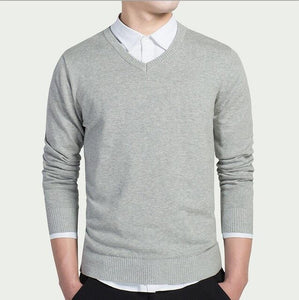 Men's Cotton Business V-neck Sweater