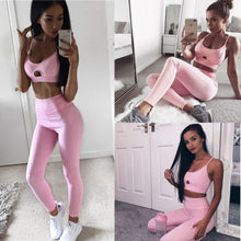 Load image into Gallery viewer, Pink Women Elastic Suit Fitness Workout Wear Tank Top
