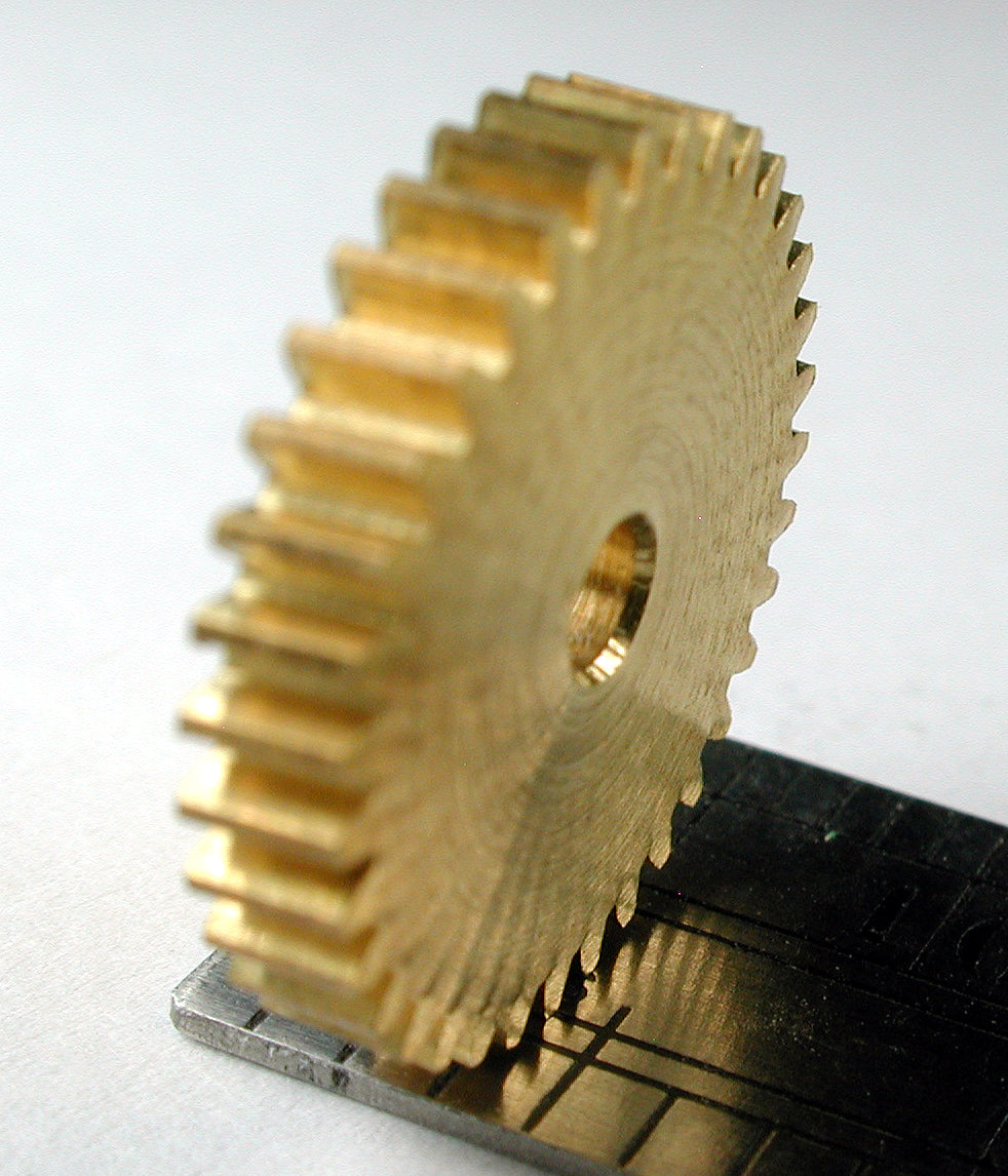 "Reverse Worm/Worm Gear, 0.4mod x 35 Teeth x 14.55mm OD x 0.095"" Face x 5.0mm Bore, Brass/Delrin"