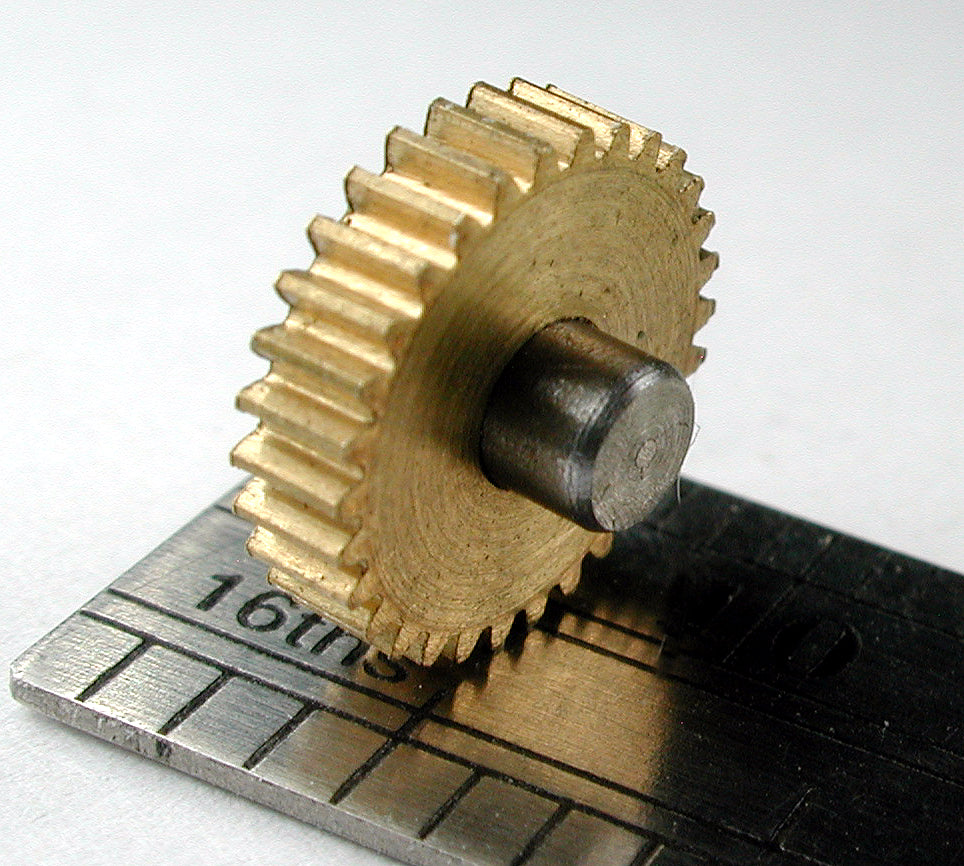 Reverse Worm Gear, 0.3mod x 30 Teeth x 9.5mm OD x 3mm Bore, Assembled on 3mm Shaft, Delrin