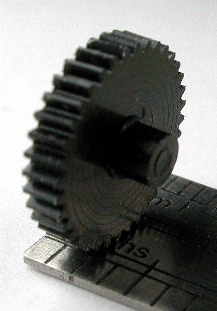 "Reverse Worm Gear, 0.3mod x 36 Teeth x 11.5mm OD x 0.085"" Face, No Bore, Double Hubbed, Delrin"