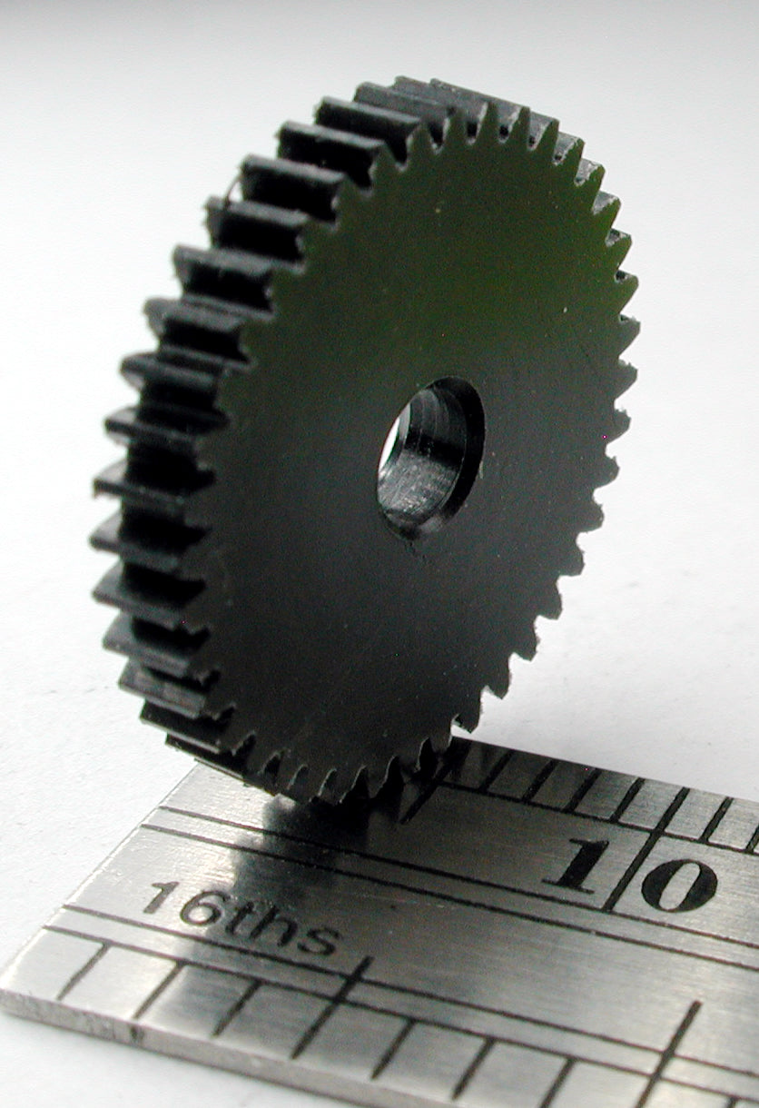 "Reverse Worm Gear, 72DP x 40 Teeth x 14.8mm OD x 0.085"" Face x 3.0mm Bore, Delrin"