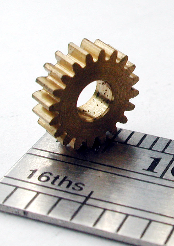 "Spur Gear, 72DP x 20 Teeth x 7.8mm OD x 0.085"" Face x 3.0mm Bore, Brass"