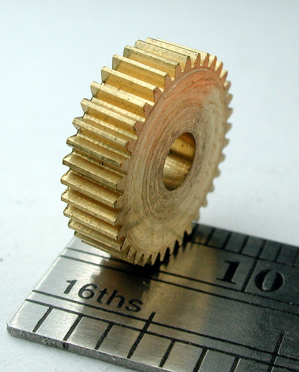 "Worm Gear, 0.3mod x 36 Teeth x 11.3mm OD x 0.124"" Face x 1/8"" Bore, Brass"