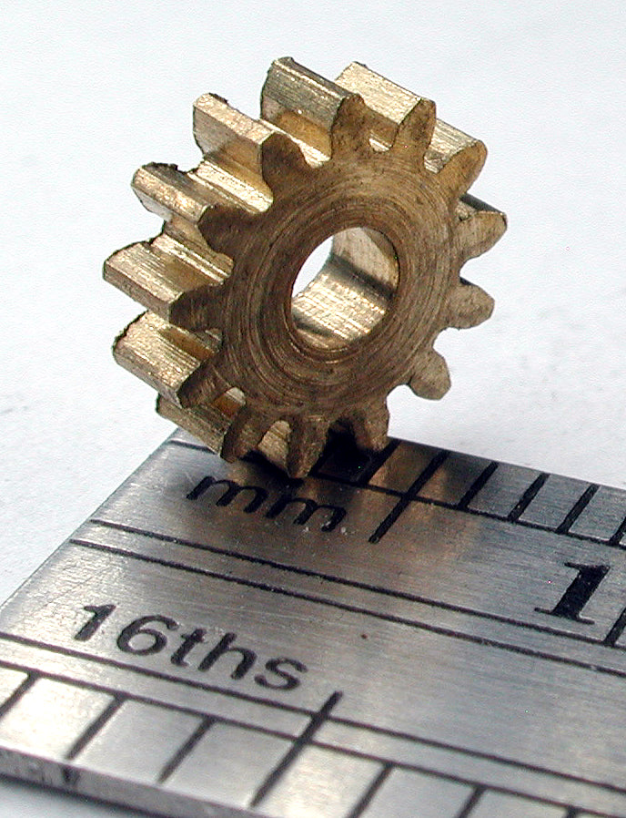 Spur Gear, 0.5mod x 13 Teeth x 7.5mm OD x 2.4mm Bore, Brass