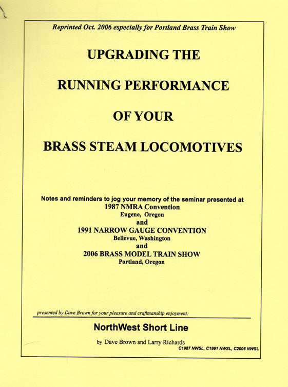 Booklet: Upgrading the Running Performance of your Brass Steam Locomotives