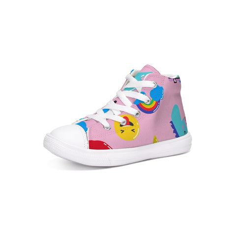 kids Patterns pink Kids Hightop Canvas Shoe