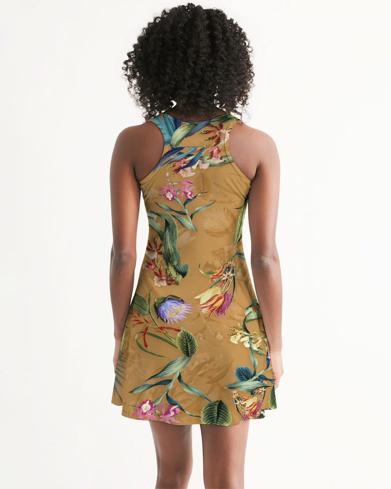 Retro Flowers Pattern Women's Racerback Dress
