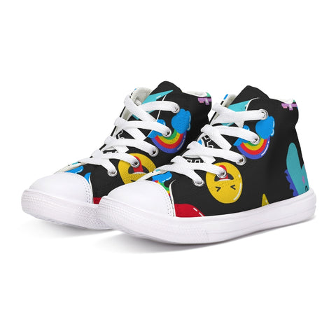 Kids Patterns Black Kids Hightop Canvas Shoe