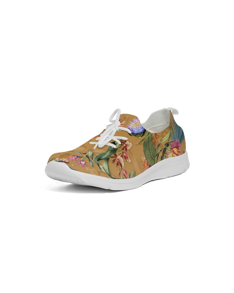 Retro Flowers Pattern Women's Lace Up Flyknit Shoe