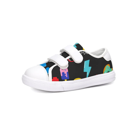 Kids Patterns Black Kids Velcro Sneaker