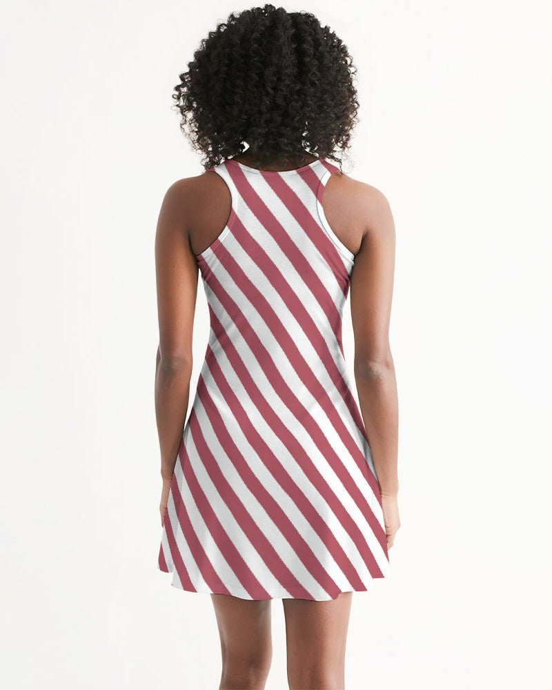 Red Stripes on White Women's Racerback Dress