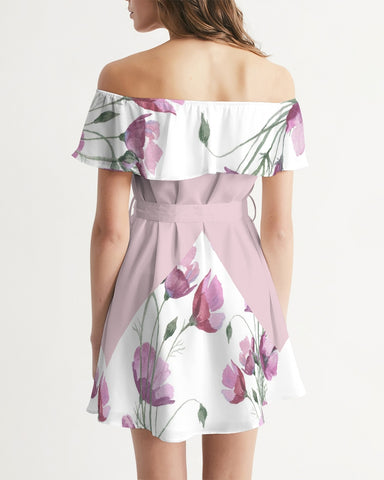 Watercolor Flower purple Women's Off-Shoulder Dress