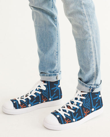 Hand Made Tribal Pattern Dark Blue Men's Hightop Canvas Shoe