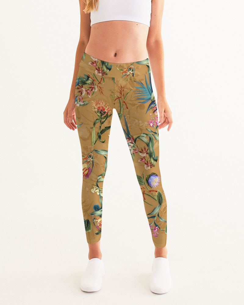 Retro Flowers Pattern Women's Yoga Pants