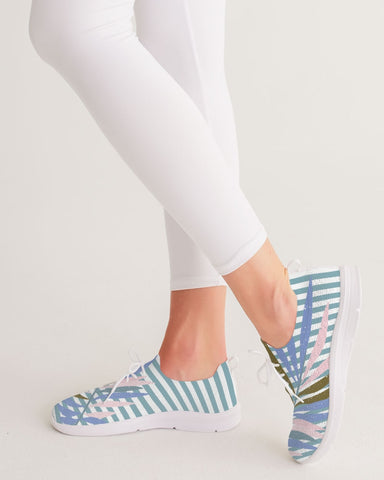 Light Blue Stripes Women's Lace Up Flyknit Shoe