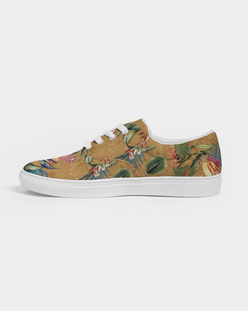 Retro Flowers Pattern Women's Lace Up Canvas Shoe