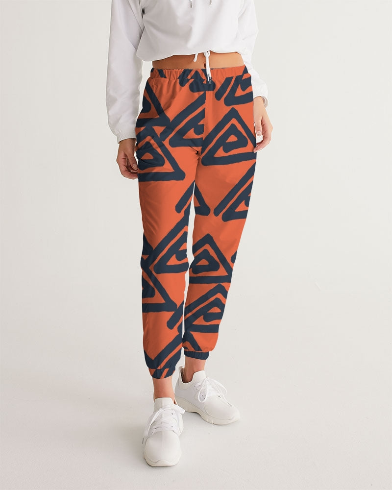 Triangle pattern on orange Women's Track Pants