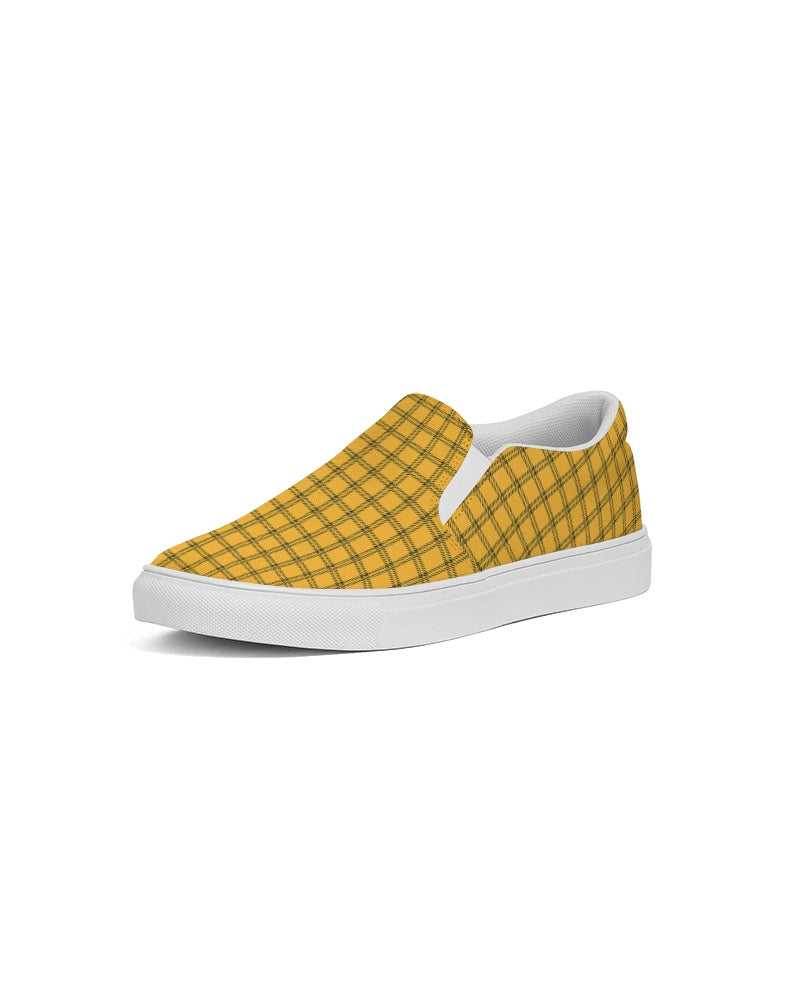 Yellow Plaid Women's Slip-On Canvas Shoe