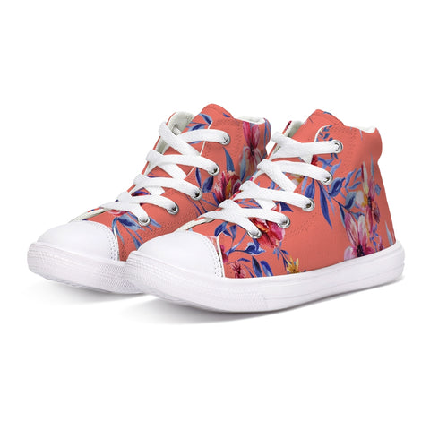 Rose Pattern Kids Hightop Canvas Shoe