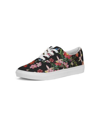 Butterfly On Flowers Botanic Women's Lace Up Canvas Shoe