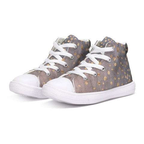 Confetti Gradient Watercolor. Kids Hightop Canvas Shoe