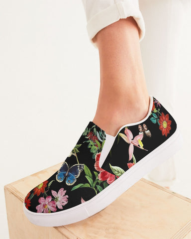 Butterfly On Flowers Botanic Women's Slip-On Canvas Shoe