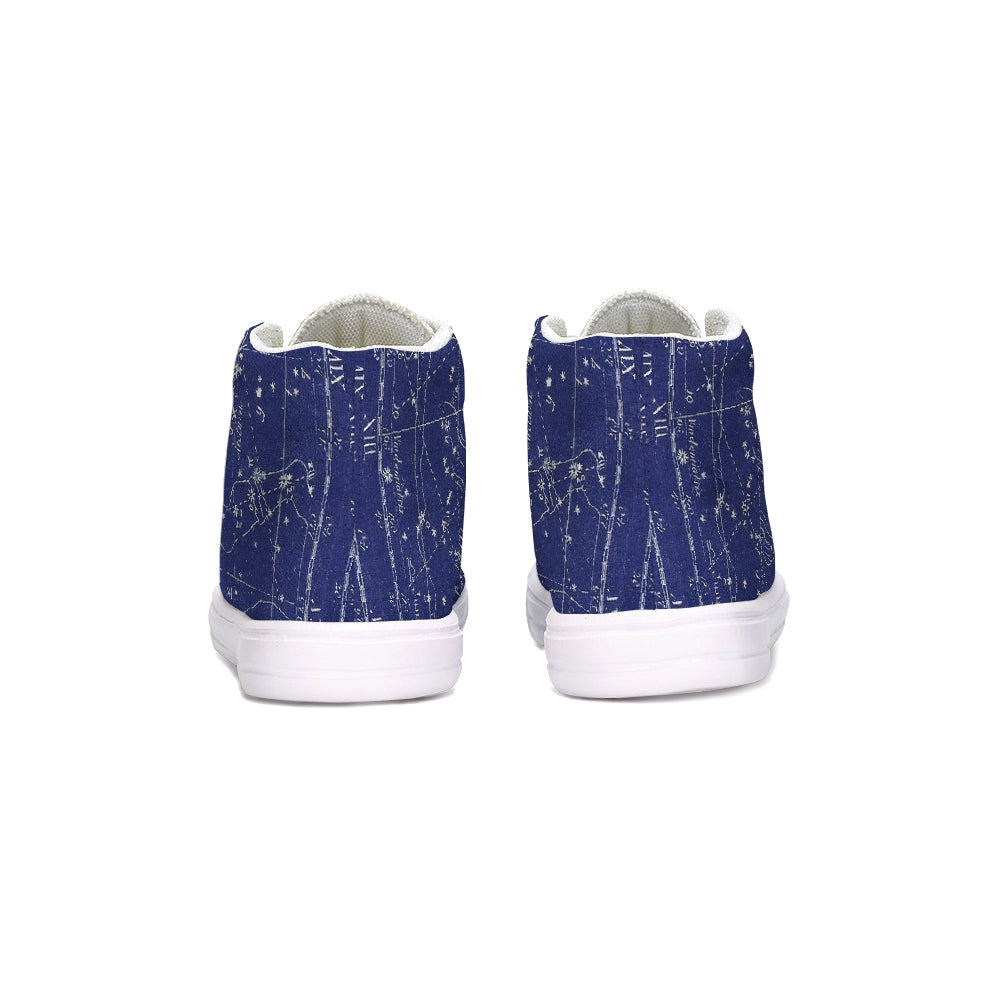 stars map blue Kids Hightop Canvas Shoe