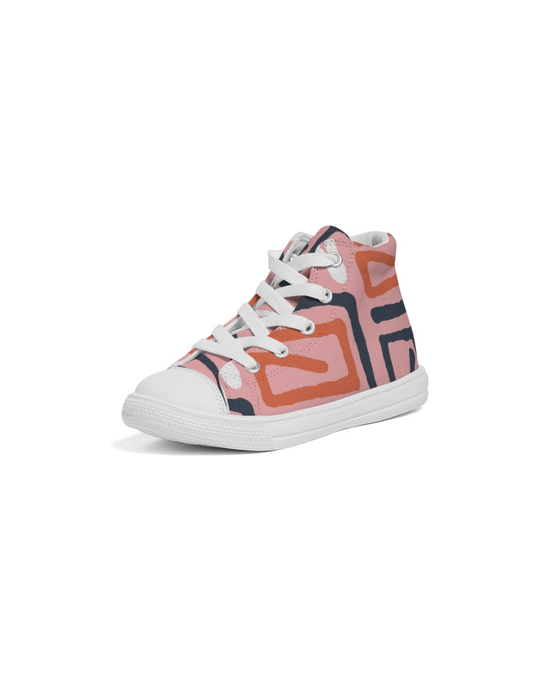 Hand Made Triba Seamless Pattern pink 1 Kids Hightop Canvas Shoe