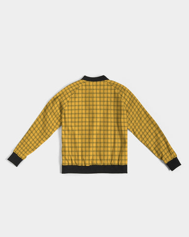 Yellow Plaid Women's Bomber Jacket