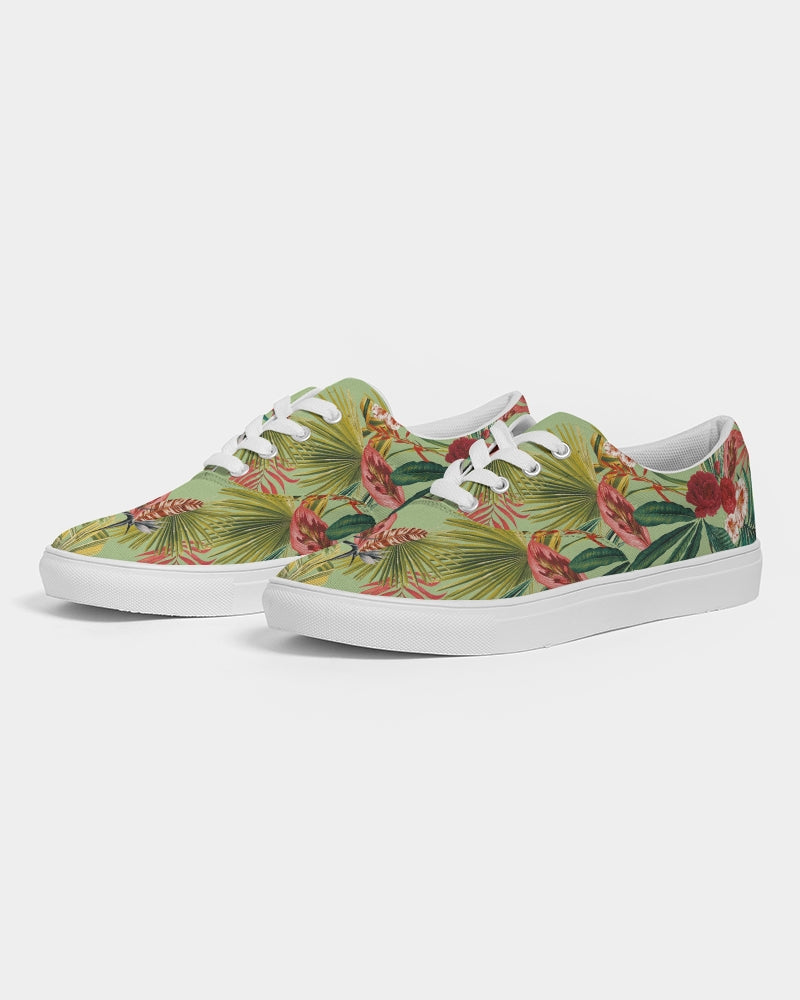 Flowers Botanic On Green Women's Lace Up Canvas Shoe