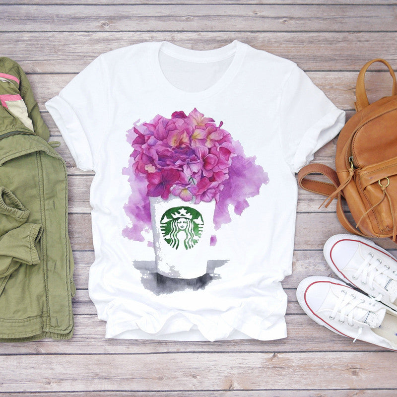 Women 2020 Summer Short Sleeve Floral Flower Fashion T-shirts Top